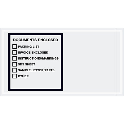 """Tape Logic Transportation Envelopes, """"Documents Enclosed"""", 5 1/2"""" x 10"""", Printed Clear, 1000/Case (PL496)"""