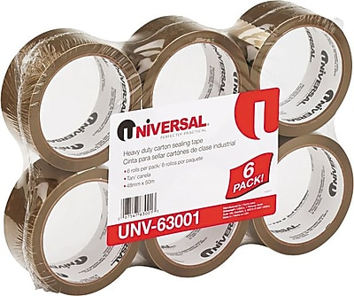 """Universal Box Sealing Tape, 3"""" Core, Tan, 2"""" x 55 Yards, 6 RL/Pk"""