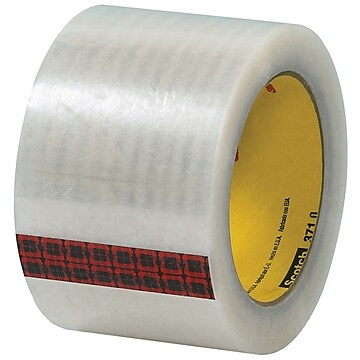 "3M 3"" x 55 yds. x 1.9 mil 371 Carton Sealing Tape, Clear, 6/Pk"