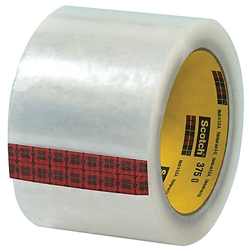 "3M 3"" x 55 yds. x 3.1 mil 375 Carton Sealing Tape, Clear, 6/Pk"