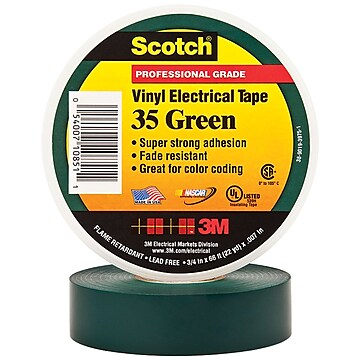 "3M 35 Colored Electrical Tape, 7 Mil, 3/4"" x 66', Green, 10/Case (T96403510PKG)"