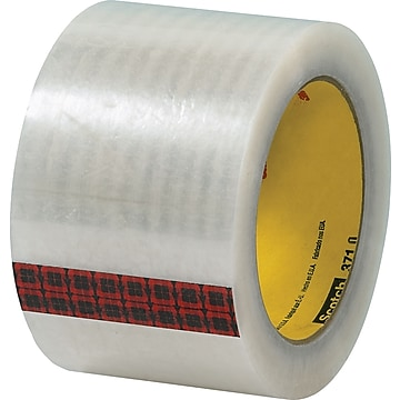 "3M #371 Hot Melt Packing Tape, 3""x110 yds., Clear, 24/Case"