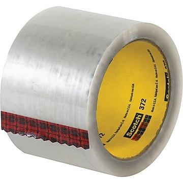 "3M #372 Hot Melt Packaging Tape, 3"" x 55 yds., Clear, 24/Case"