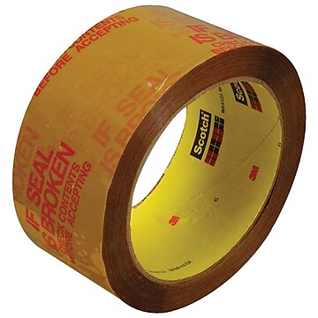 "3M 3732 Pre-Printed Carton Sealing Tape, 2.5 Mil, 2"" x 55 yds., Tan/Red, 6/Case (T90137326PK)"