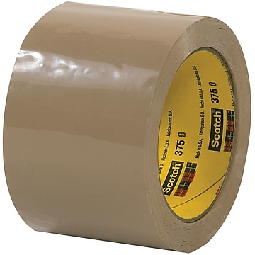 "3M 375 Carton Sealing Tape, 3.1 Mil, 3"" x 55 yds., Tan, 6/Case (T905375T6PK)"