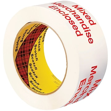 """3M 3775 Printed Message Tape, 1.9 Mil, 2"""" x 110 yds., White/Red, 6/Case (T90237756PK)"""