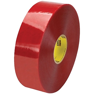 "3M 3779 Pre-Printed Carton Sealing Tape, 1.9 Mil, 3"" x 1000 yds., Clear/Red, 4/Case (T90333779)"