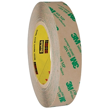 "3M 468MP Adhesive Transfer Tape, Hand Rolls, 5.0 Mil, 1"" x 60 yds., Clear, 6/Case (T9654686PK)"