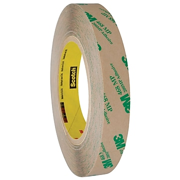 """3M 468MP Adhesive Transfer Tape, Hand Rolls, 5.0 Mil, 3/4"""" x 60 yds., Clear, 6/Case (T9644686PK),Size: med"""