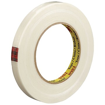 """3M 8981 Strapping Tape, 6.6 Mil, 1/2"""" x 60 yds., Clear, 72/Case (T9138981)"""