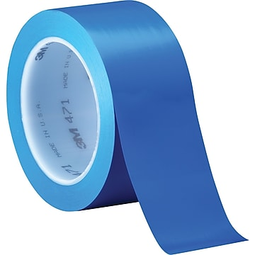 "3M™ 2"" x 36 yds. Solid Vinyl Safety Tape 471, Blue, 3/Pack"