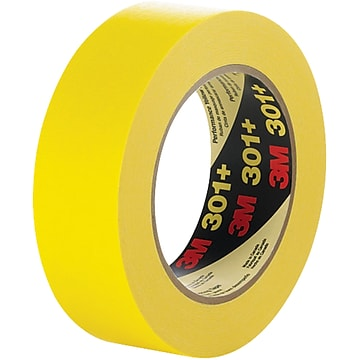 "3M™ 301+ Masking Tape, 1 1/2"" x 60 yds., Yellow, 12/Case (T93630112PK)"