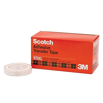 "3M™ Scotch 970XL Adhesive Transfer Tape, Dispenser Rolls, 1/2"" x 36 yds., Clear, 6/Case (T963970XL6PK)"