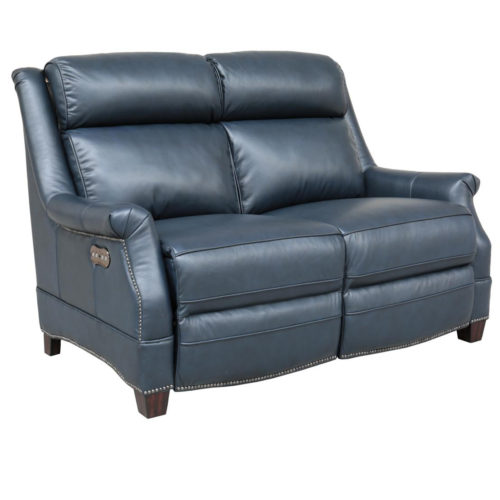 Barcalounger Vintage Warrendale Power Leather Reclining Loveseat with Power Headrests in Shoreham Blue