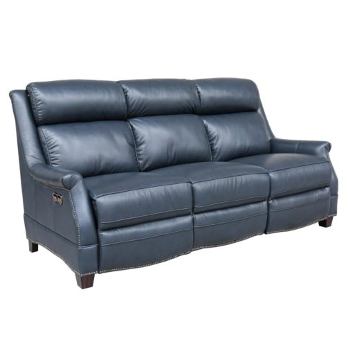 Barcalounger Vintage Warrendale Power Leather Reclining Sofa with Power Headrests in Shoreham Blue