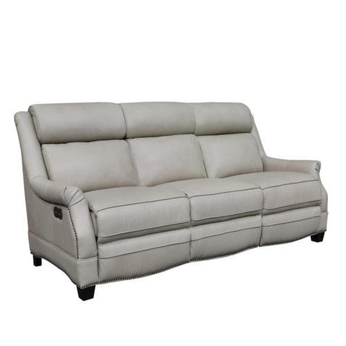 Barcalounger Vintage Warrendale Power Leather Reclining Sofa with Power Headrests in Shoreham Cream
