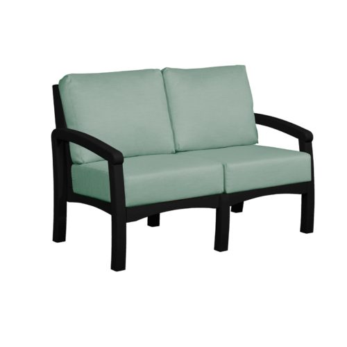 CRP Products Bay Breeze Black Frame Loveseat with Canvas Spa Cushion