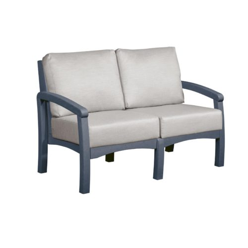 CRP Products Bay Breeze Slate Grey Frame Loveseat with Spotlight Ash Cushion
