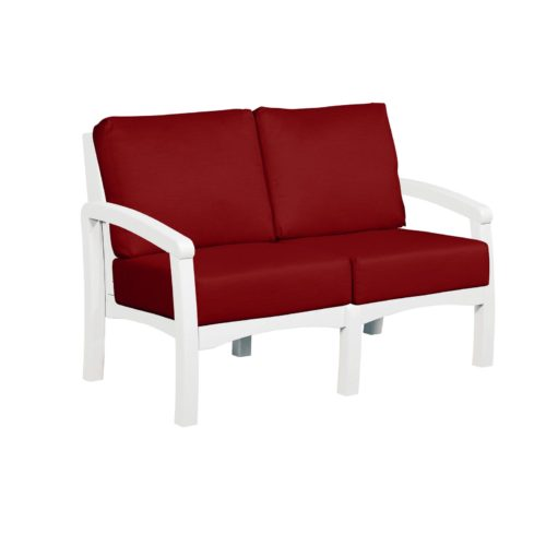 CRP Products Bay Breeze White Frame Loveseat with Canvas Jockey Red Cushion