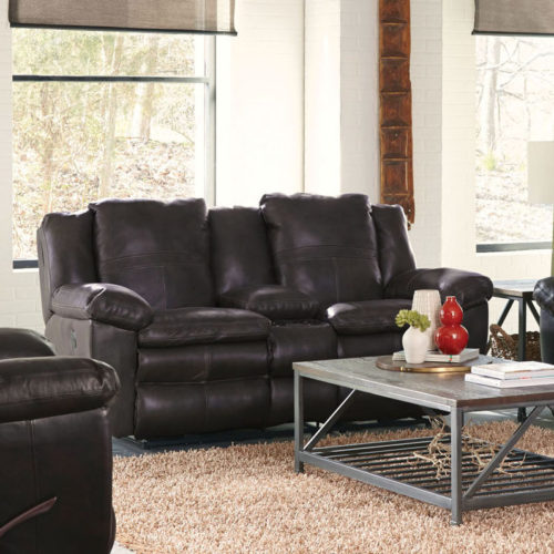 Catnapper Aria Leather Lay Flat Reclining Console Loveseat in Chocolate