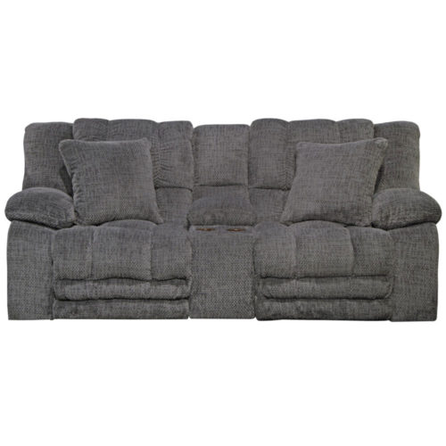 Catnapper Branson Lay Flat Reclining Console Loveseat with Extended Ottoman and with Storage and Cupholders in Pewter