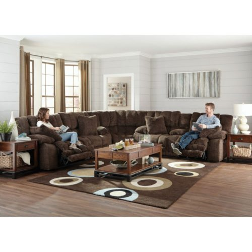 Catnapper Branson Lay Flat Reclining Sectional in Chocolate