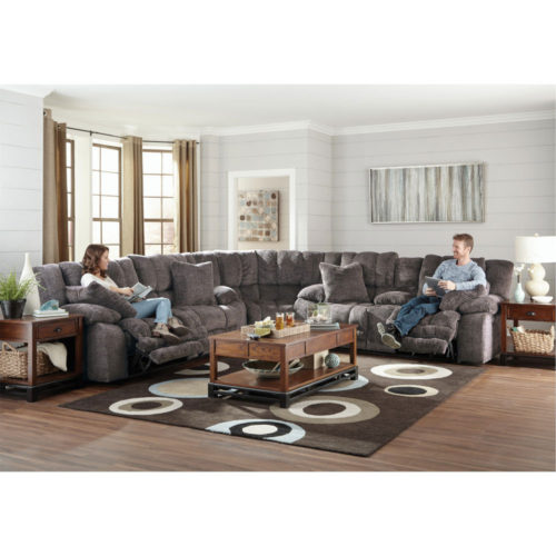 Catnapper Branson Lay Flat Reclining Sectional in Pewter