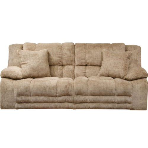 Catnapper Branson Lay Flat Reclining Sofa with Extended Ottoman in Camel