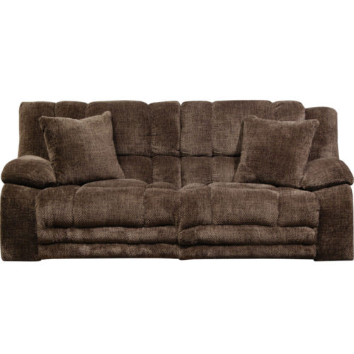 Catnapper Branson Lay Flat Reclining Sofa with Extended Ottoman in Chocolate