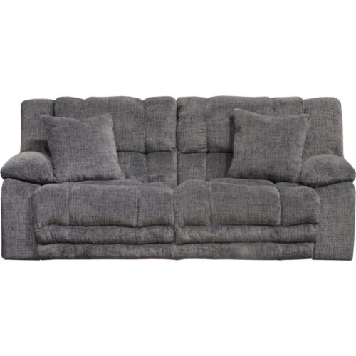 Catnapper Branson Lay Flat Reclining Sofa with Extended Ottoman in Pewter