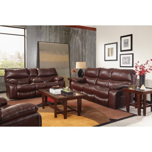 Catnapper Camden Lay Flat Power Reclining Console Loveseat in Walnut