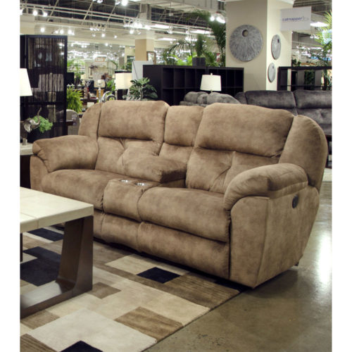 Catnapper Carrington Power Lay Flat Reclining Console Loveseat with Storage and Cupholders