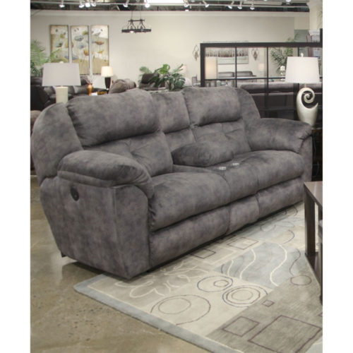Catnapper Carrington Power Lay Flat Reclining Console Loveseat with Storage and Cupholders in Greystone
