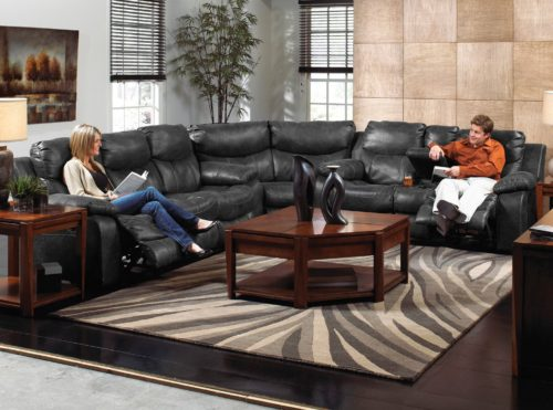 Catnapper Catalina Leather Reclining Sectional in Steel with Power Option