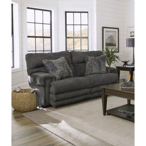 Catnapper Garrison Power Headrest Power Lay Flat Reclining Loveseat with Extended Ottoman in Pewter