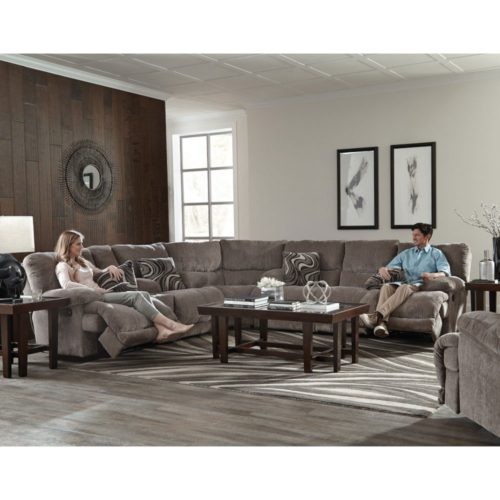 Catnapper Jules Reclining Sectional in Pewter