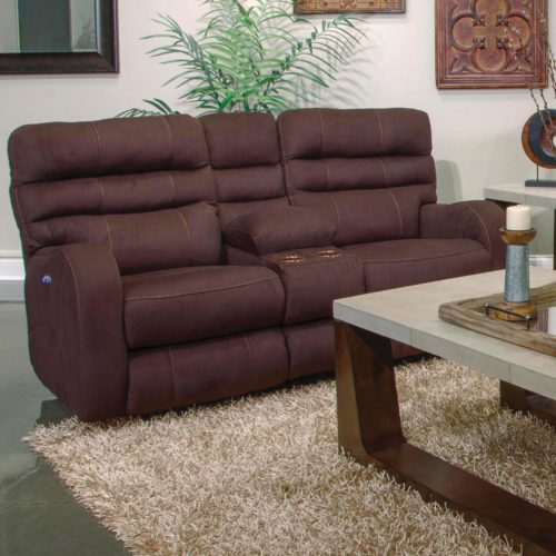 Catnapper Kelsey Power Lay Flat Reclining Console Loveseat with Power Headrest in Walnut