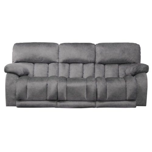 Catnapper Kendall Power Headrest Power Lay Flat Reclining Sofa with Drop Down Table and Extended Ottoman in Metal