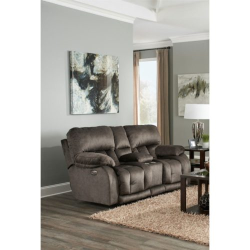 Catnapper Kendall Power Headrest with Lumbar Power Lay Flat Reclining Console Loveseat with Extended Ottoman