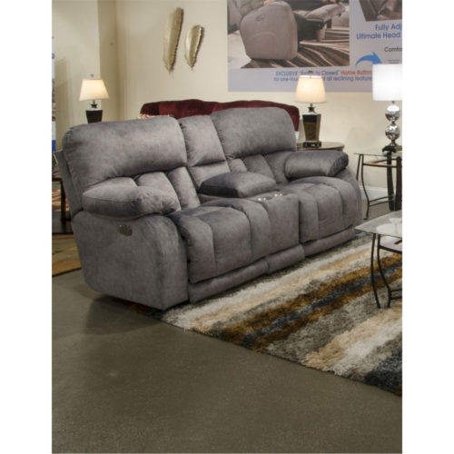 Catnapper Kendall Power Headrest with Lumbar Power Lay Flat Reclining Console Loveseat with Extended Ottoman in Metal