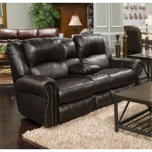 Catnapper Messina Power Headrest with Lumbar Power Lay Flat Reclining Console Loveseat