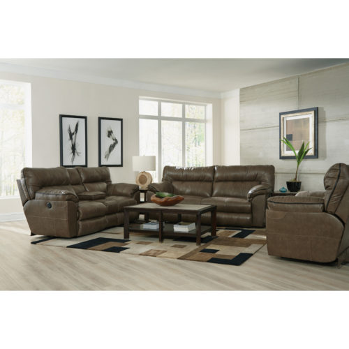 Catnapper Milan Leather Lay Flat Power Reclining Console Loveseat in Smoke