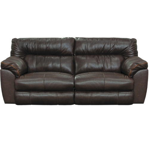 Catnapper Milan Leather Lay Flat Power Reclining Sofa in Chocolate
