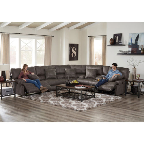 Catnapper Monaco Lay Flat Reclining Sectional in Charcoal