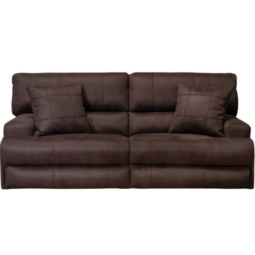 Catnapper Monaco Power Headrest Power Lay Flat Reclining Sofa in Dark Chocolate