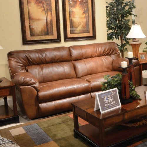 Catnapper Nolan Extra Wide Reclining Sofa in Chestnut with Power Option