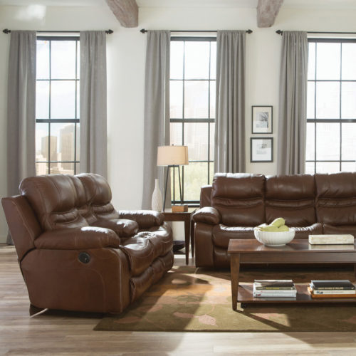 Catnapper Patton Leather Power Lay Flat Reclining Console Loveseat in Chestnut