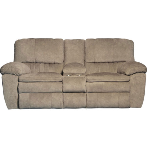 Catnapper Reyes Power Lay Flat Reclining Console Loveseat with Storage and Cup holders