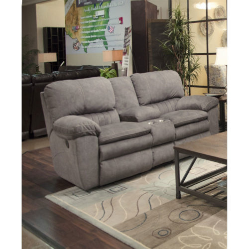 Catnapper Reyes Power Lay Flat Reclining Console Loveseat with Storage and Cup holders in Graphite
