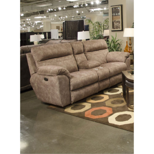 Catnapper Sedona Power Headrest Power Lay Flat Reclining Console Loveseat with Storage and Cupholders in Mesa